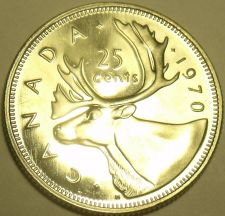 Buy Proof Canada 1970 25 Cents~Caribou Quarter~645,869 Minted~Excellent~Free Ship