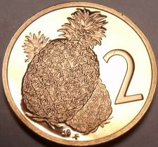 Buy Proof Cook Islands 1976 2 Cents~Only 18,000 Minted~Pineapple~Free Shipping