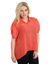 Buy Women's Button Shirt Plus Size 1X-3X Lamjya Sheer Solid Coral Embellished Hi-Lo