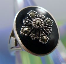 Buy sz 7 Vintage Onyx and Marcasite Signet Ring Sterling Silver Signed Marsala