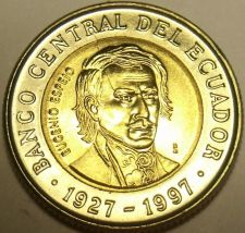 Buy Gem Unc Bi-Metal Ecuador 1997 1,000 Sucres~70th Anniversary Central Bank~Free Sh