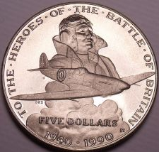 Buy Gem Unc Marshall Islands 1990M 5 Dollars~The Heroes Of The Battle Of Britain~F/S
