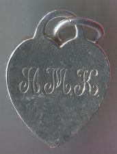 Buy Tiffany Heart Bracelet Charm Sterling 925 Silver w/ Monogram A.M.K. 11-06