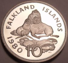 Buy Huge Rare Proof Falkland Islands 1980 10 Pence~Ursine Seal~10k Minted~Free Ship