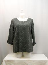 Buy Karen Scott Polka Dot Crew Neck 3/4 Tab Button Sleeves Sport Sweatshirt Size 1X