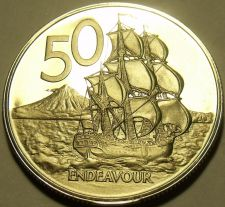 Buy Rare Cameo Proof New Zealand 1974 50 Cents~Only 8,000 Minted~HMS Endeavour~Fr/Sh