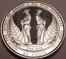 Buy Gem Unc New Zealand 2015 50 Cents~The Spirit Of Anzac~We Will Remember~Free Ship