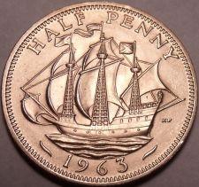 Buy Large Gem Unc Great Britain 1963 Half Penny~Queen Elizabeth II~Excellent~Free Sh