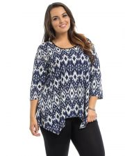 Buy Black'N'Blue Women's Top Plus Size 1XL-3XL Geometric Scoop Neck 3/4 Sleeves Knit