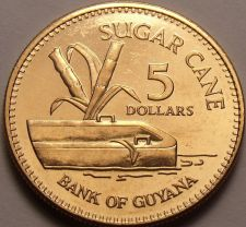 Buy Gem Unc Guyana 2008 $5.00~Sugar Cane~Fantastic~Free Shipping