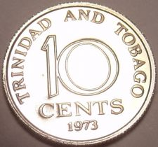 Buy Proof Trinidada & Tobago 1973 10 Cents~Only 20,000 Minted~Free Shipping