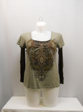 Buy SIZE XL Womens T Shirt LIVE AND LET LIVE Layered Long Sleeves Scoop Neck Knit