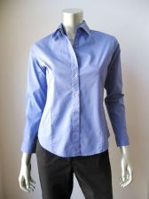 Buy Real Comfort NEW Blue Work Stretch Cotton Long Sleeve Button Down Shirt Top S PR