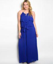 Buy VivaYou Blue Ruffled Bodice Halter Neck Pleated Wide Legs Jumpsuit Size 1XL-3XL