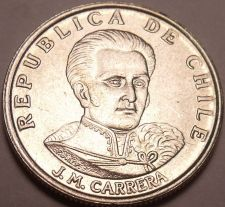 Buy Gem Unc Chile 1971 1 Escudo~1st Year Ever Minted~Jose Miguel Carrera~Free Ship