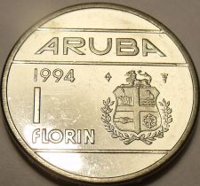 Buy Large Gem Unc Aruba 1994-U Florin~Edge Inscription~GOD*ZIG*MET*ONS~Free Shipping