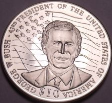 Buy Gem Unc Liberia 2001 $10.00~George Bush 43rd President Of The United States~Fr/S