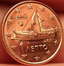 Buy Gem Unc Greece 2009 1 Euro Cent~Ancient Athenian Trireme~Minted In Athens~Fr/Shi