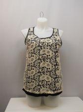 Buy SIZE XL Womens Tank Cami Top FRENCH LAUNDRY Black Crochet Lace Overlay Sleeveles