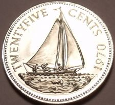 Buy Rare Proof Bahamas 1970 25 Cents~Bahamian Sloop~Only 23,000 Minted~Free Shipping