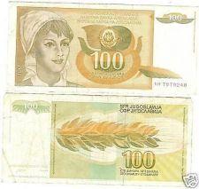 Buy YUGOSLAVIA 1990 100 DINARA HIGH DENOMINATION~FREE SHIP~