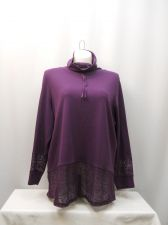 Buy NorthCrest Women's Top Plus Size 3X Plum Lace Funnel Neck Long Sleeves Pullover