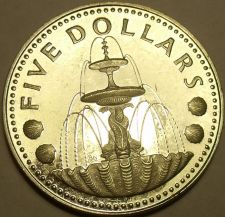 Buy Silver Proof Barbados 1973 $5.00~1st Year Ever~Shell Fountain~Free Shipping