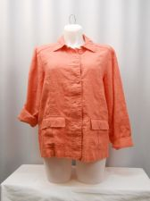 Buy PLUS SIZE 2X Blazer CHARTER CLUB Linen Coral Long Sleeves Collar Neck Button