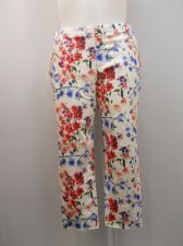 Buy SIZE 20 XXL Womens Capri Jeggings FADED GLORY White Floral Mid Rise Back Pockets
