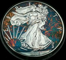 Buy 2015 Rainbow Toned Silver American Eagle 1 ounce fine silver uncirculated #a275