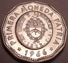 Buy Large Unc Argentina 1966 25 Pesos~Dodecagon~1813 1st Year Of Coinage~Free Ship