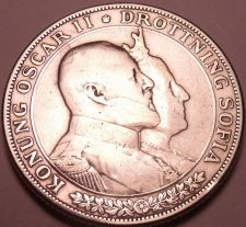 Buy Silver Sweden 1907 2 Kronor~King Oscar II and Queen Sofia 50Th Anniv~Free Ship