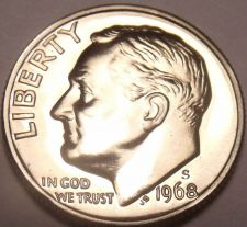 Buy SUPER PROOF 1968-S PROOF CAMEO ROOSEVELT DIME~FREE SHIP