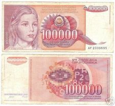 Buy YUGOSLOVIA HUGE 100,000 DINERA NOTE~WOW~FREE SHIP INC~
