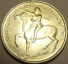 Buy Gem Unc Chile 1972 5 Escudos~Last Year~Horse~Lautaro~Araucanian Indian~Free Ship