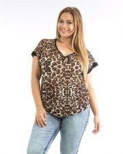 Buy Roman Animal Print Keyhole Scoop Neck Short Raglan Sleeves Sheer Top Size 1X-3X
