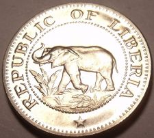 Buy Rare Proof Liberia 1968 5 Cents~Only 14,396 Minted~Elephant Coin~Free Ship