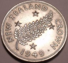 Buy Massive Rare Unc Silver New Zealand 1949 Crown~Proposed Royal Visit~Free Ship
