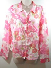 Buy I LOVE H81 Blooming Silk-Blend Shirt Coral/Pink Size Large