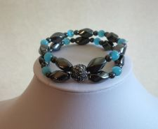 Buy ELEGANT MAGNETIC HEMATITE BRACELET WITH TEAL COLORED CAT EYES STONES