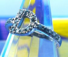 "Buy Sz 8 Ring : Sterling Silver Initial ""D"" Cubic Zirconia Pave CZ Designer Signed"