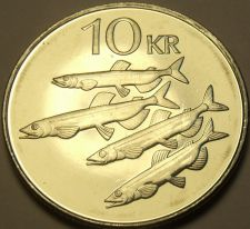 Buy Large Gem Unc Iceland 1996 10 Kronur~Capelin Fish~Eagle, Dragon, Bull, Giant~F/S