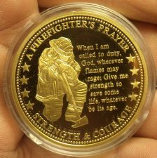 Buy Huge Proof 24k Gold Plated a Firefighters Prayer~Strength & Courage~Free Ship
