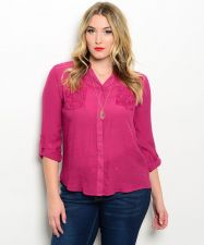 Buy Women's Button Down Shirt Plus Size 1XL-3XL MINE TOO Solid Magenta Lace Trim