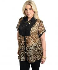 Buy Juliet Rose Animal Print Short Sleeves Collared Neck Button Sheer Top Size 1X-3X