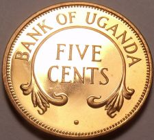 Buy Rare Proof Uganda 1966 5 Cents~Only 8,250 Minted~Crossed Tusks~Free Shipping