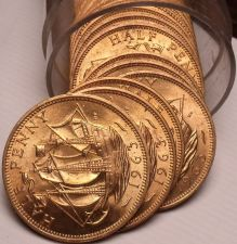 Buy Unc Roll (20) Great Britain 1963 Half Pennys~The Golden Hind~Free Shipping
