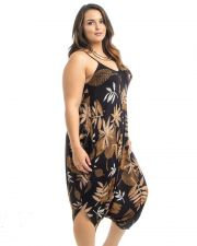 Buy Takuni Tropical Draped Relaxed Fit Spaghetti Straps Harem Jumpsuit One Size