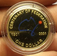 Buy Rare Cameo Proof Australia 2001 Dollar~Centenary Of Federation~22,923 Minted~F/S