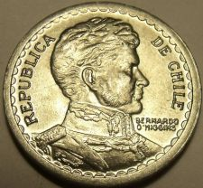 Buy Gem Unc Chile 1956 1 Peso~General O'higgens~Excellent~Free Shipping